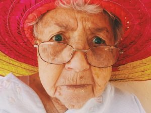 old woman with macular degeneration